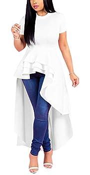 Peplum Tops for Women - High Low Dresses Ruffle Short Sleeve Tunic Shirt XX-Large White