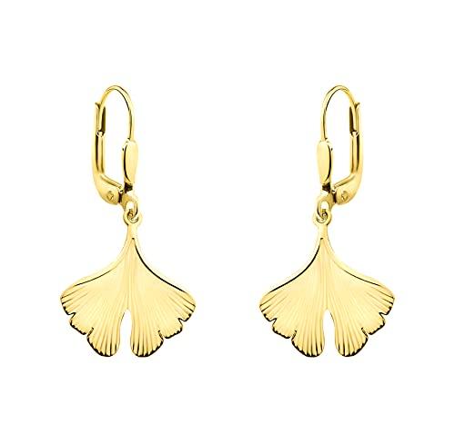 DIAMALA Pendientes para mujer de oro 375 (9 quilates) – Pendientes de oro amarillo como hoja de Ginko – DI20015