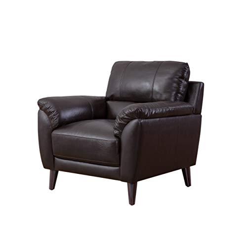 Abbyson Living Zamora Top Grain Leather Armchair, Brown