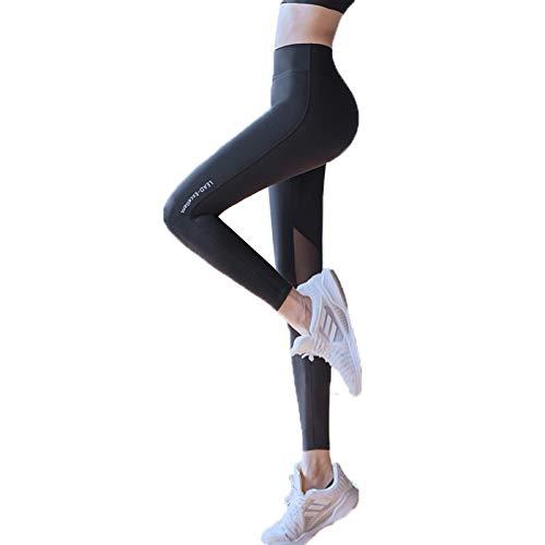 Pantalones De Yoga para Mujer, Mallas De Cintura Alta, Pantalones Deportivos, Cintura Alta, Yoga Elástico Y Transpirable (Negro,S)