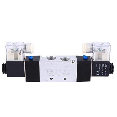 WHEEJE Válvula solenoide eléctrica, 4V320-10 3/8'Outlet de entrada de 3/4' 1/4'Válvula de aire solenoide de escape 2 Posición 5 Controlador de fluidos de puerto para sistema neumático (DC24V)
