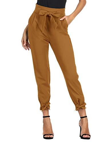 GRACE KARIN Damen Bleistifthose Hohe Taille 9/10 Elegant Carpi Hose Schleife Hose mit Taschen 2XL Kupfer CL010903-20