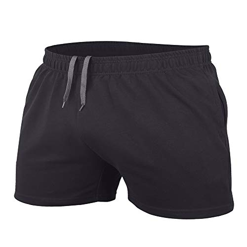 JEEING GEAR Men's Bodybuilding Workout Gym Shorts 3' Inseam Sports Cotton with Pocket Black Color Size M