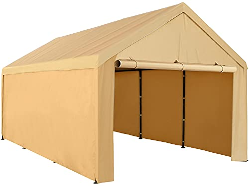 Abba Patio 10 x 20 ft Carport Heavy Duty Carport with Removable Sidewalls & Doors Portable Garage Extra Large Car Canopy for Auto, Boat, Party, Wedding, Market stall, with 8 Legs, Khaki