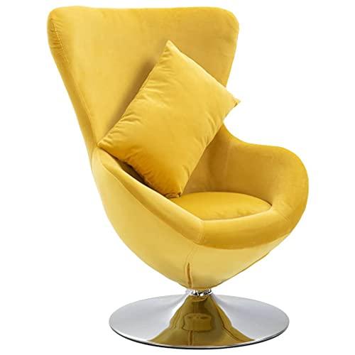 vidaXL Fauteuil Pivotant en Forme d'Oeuf avec Coussin Siège de Salon Chaise de Chambre à Coucher Salle de Séjour Intérieur Maison Jaune Velours
