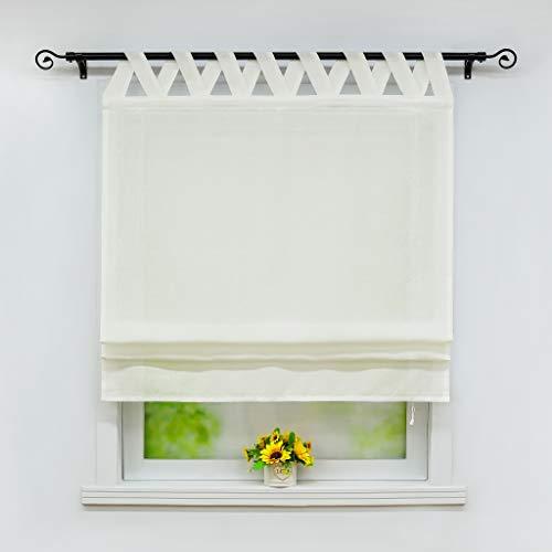 Joyswahl Raffrollo Halbtransparentes Unifarbiges Bändchenrollo »Mila« Schals mit Schlaufen Fenster Vorhänge BxH 120x140cm Beige 1er Pack