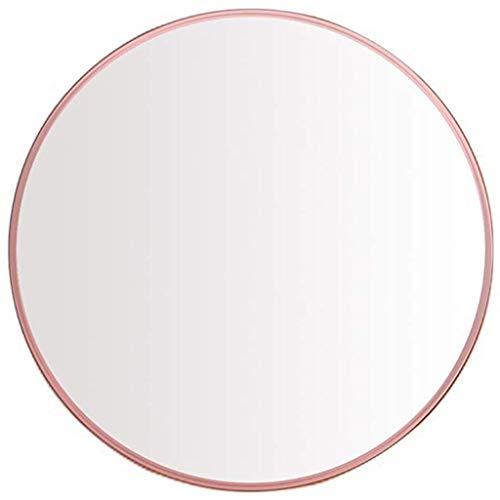 Espejo de Maquillaje de Espejo de Pared de Oro Rosa de Metal Cepillado   diseño Redondo del Marco de Metal del Panel de Vidrio, 40/50/60/70 / 80CM