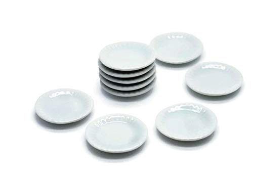 10 White Cearmic Plate Dish Bowl Dollhouse Miniatures Food Kitchen No 47 by Cool Price