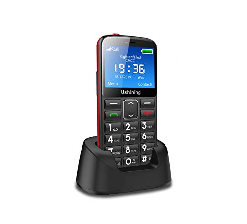 Ushining Teléfono móvil 3G para personas mayores, teclas grandes para personas mayores con estación de carga, SOS botón de llamada de emergencia, batería de 1000 mAh, compatible con audífonos