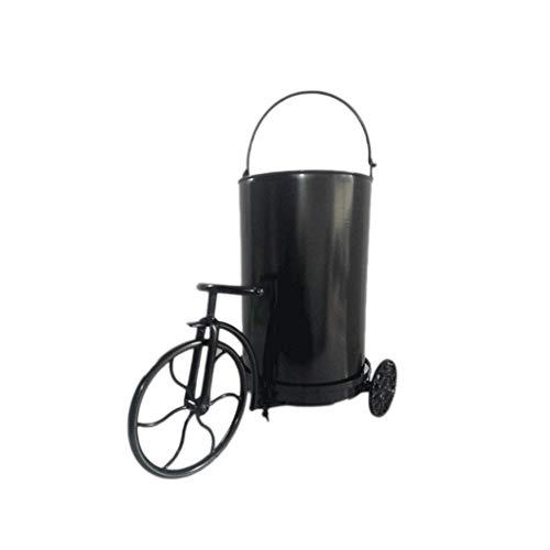 ZLJ Bote de Basura de Viento Industrial con Forma de Triciclo de Viento Retro Cesto de Basura de Almacenamiento Papelera de Reciclaje Cubos de Basura de Hierro metálico Cubos de Basura para Inte