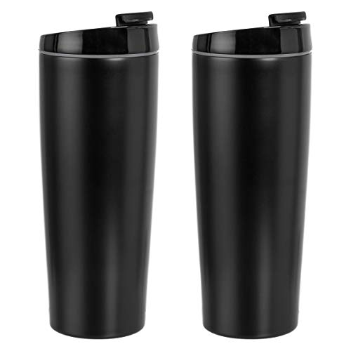 Amazon Basics Stainless Steel Tumbler with Flip Lid, Vacuum...