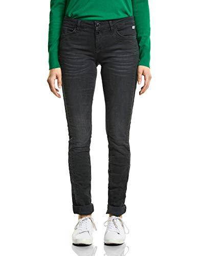 Street One Damen 371753 Crissi Slim Jeans, Balck Denim Stone wash, W30/L30