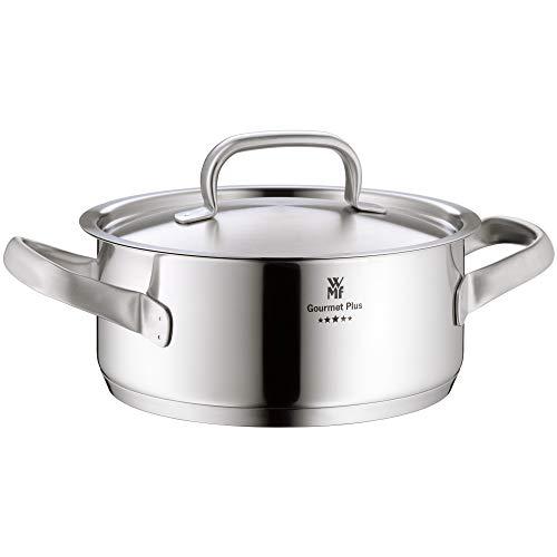 WMF Gourmet Plus Kochtopf 24cm, Metalldeckel, Bratentopf Induktion 4,1l, Cromargan Edelstahl mattiert, Innenskalierung, Dampföffnung