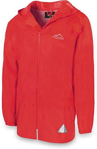 Outdoor Regenjacke Laufjacke Fahrradjacke mit Kapuze und 3M Scotchlite Reflektoren beidseitig für maximale Sicherheit Farbe Rot Größe M/6