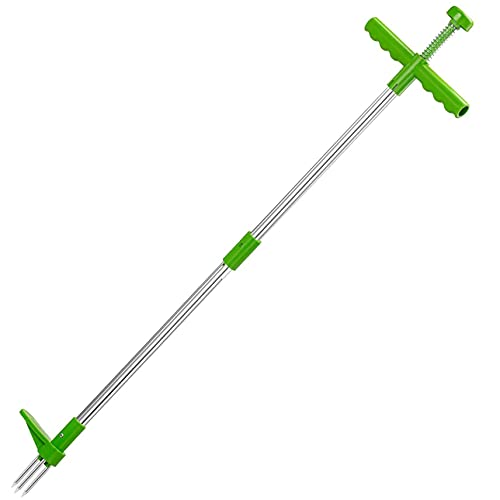 Stand Up Weeder Root Removal Tool Weed Puller Tool Garden Manual Weeder 39 Inch Long Handle Weeding Tool with 3 Steel Claws and Foot Pedal