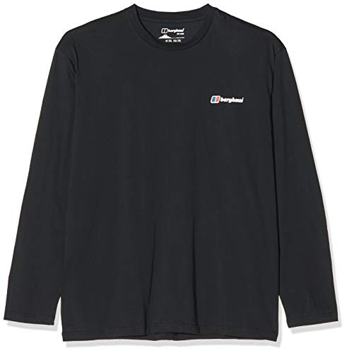 Berghaus Camiseta de Manga Larga con Logotipo corporativo para Hombre, Hombre, Camiseta, 422375BP6, Negro/Negro, XXL