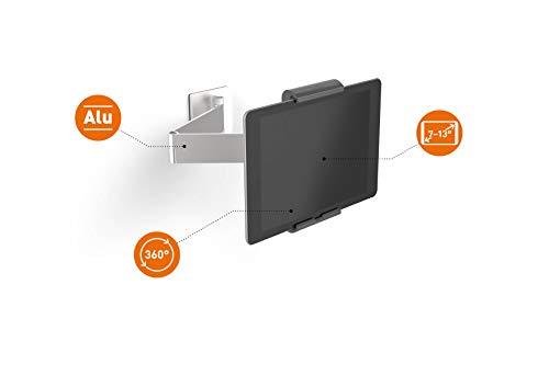 Durable 893423 Tablet Wandhalterung (mit Schwenkarm für Tablets 7-13 Zoll, 360° drehbar mit Diebstahlsicherung) silber/anthrazit