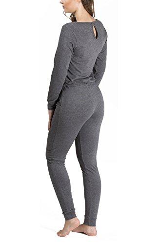 maluuna Damen Jumpsuit mit Bündchen an Arm- und Beinabschluss und Kordelzug, Größe:40/42, Farbe:anthrazit-Melange - 8