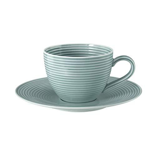Seltmann Kaffeetasse 0,26 l - 2-TLG. Beat Sandbeige, Arktisblau, Perlgrau, Salbeigrün - Kaffeetasse mit Untertasse - Farbe und Menge wählbar (Arktisblau, 3)