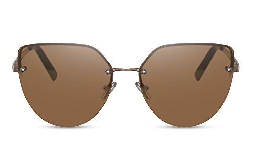 Cheapass Sonnenbrille Cat-Eye Braun UV-400 Flat-Lenses Flach Brille Rahmenlos Metall Damen Frauen