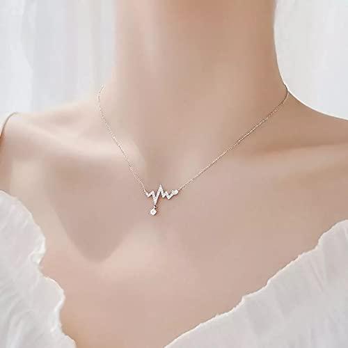 QiuYueShangMao Colgante de Collar Colgantes y Collares de circonita con Diamantes de imitación de diseño Simple para Mujer Collar de Gargantilla de Cristal ECG de Lujo joyería Regalo para Ella