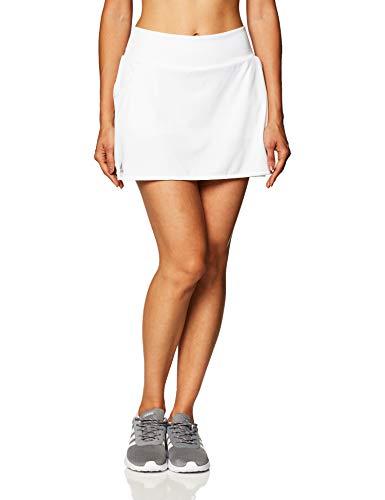 adidas Damen Club Tennisrock, Damen, Kleid, Club Skirt, Weiß/mattsilber/schwarz, Large