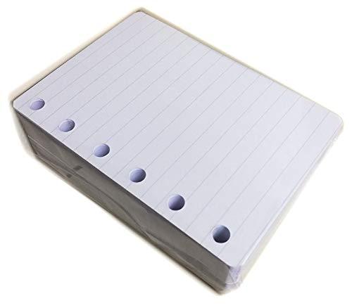 200 Ersatzblätter Nachfüllpack für Organizer 6 Ringe Format A7 Pocket 8 x 12 cm 120 g dickes Papier - 7 mm gestreift