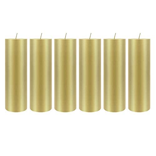 6 pcs Unscented Gold Round Pillar Candle