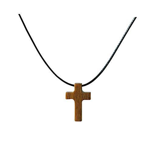Collar Colgante de Cruz Simple de Madera Pequeña Para Mujeres Niños Niñas Sándalo Collar de Madera Pequeño Regalo (Marrón-Cordón de cuero)
