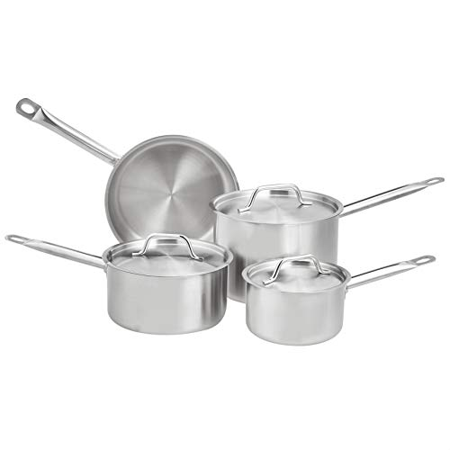 AmazonCommercial 8-Piece Stainless Steel Induction Ready Cookware Set