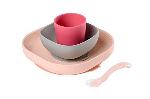 Béaba – Silikon-Esslerngeschirr-Set mit Saugnäpfen – Komplett 4-teilig – Teller, Schale, Tasse + Löffel aus hochwertigem Silikon und mit Saugnäpfen – Erleichtert das Füttern von Babys – rosa