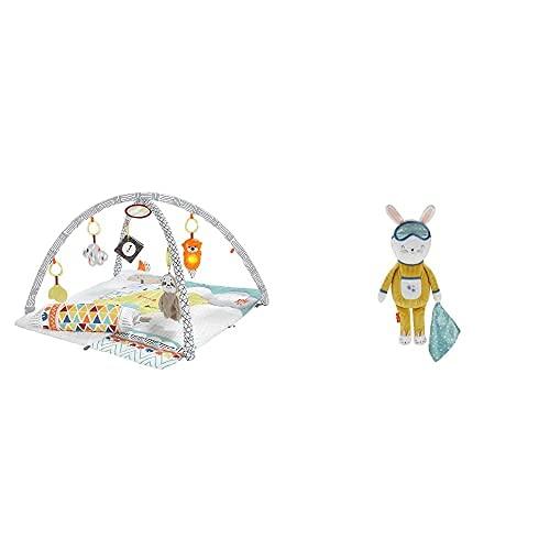 Fisher-Price Gimnasio Sensorial Llama, Manta de Juego para Bebés Recién Nacidos (Mattel GKD45) y Conejito Dulces Sueños Cuida Tu Rutina (Mattel GMN58)