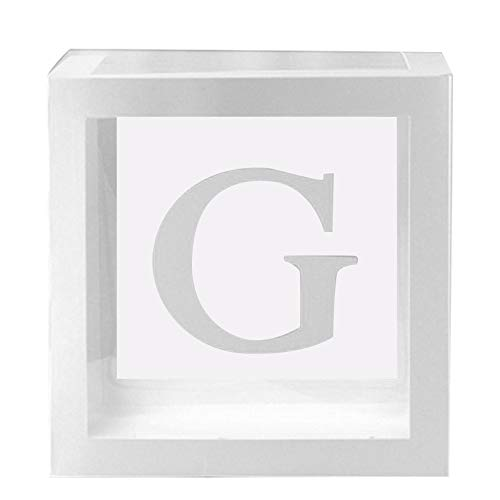 Juntful 1Pc Transparant Vierkant 26-letter Combinatie Kartonnen doos Ballon Box voor Baby Douche Christening Verjaardag Party Decor