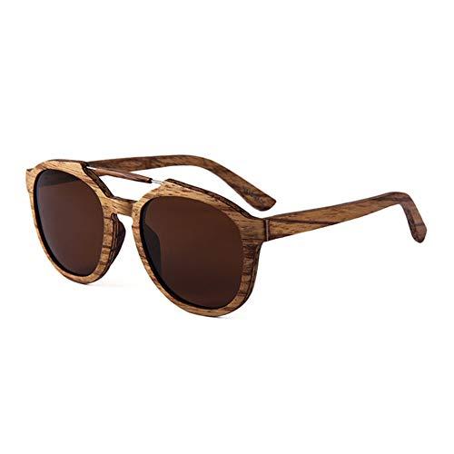 Moda Retro Gafas de Sol polarizadas Protección UV400 Gafas de Sol Deportivas, Marco Redondo de Madera,ebonyblue