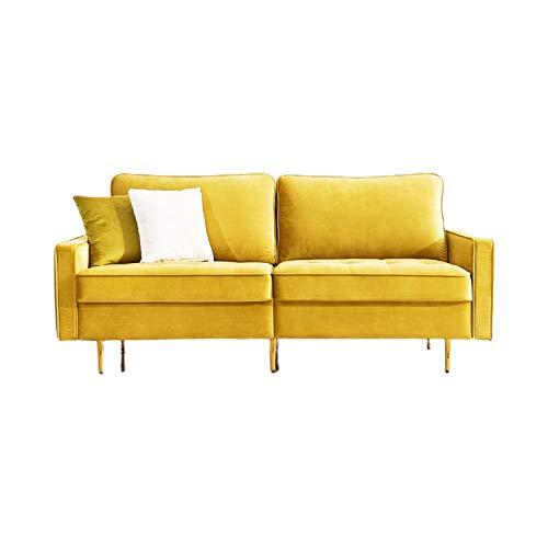 ADIBY 2-Sitzer Sofa Velvet Fabric Sofa Modern Couch Schlafsessel Bettsofa Sessel Samt Stoffsofa für kleine Wohnung Gästezimmer Jugendzimmer 180cm Yellow