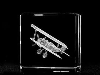 ASFOUR CRYSTAL 1166-60-31 2.4 L x 2.4 H x 2.4 W in. Crystal Laser-Engraved Biplane Transportation Laser-Cut