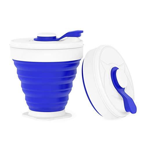 YWJFASHION Taza de Agua Plegable Plegable de la Taza Plegable de la Leche de Silicona Taza de café con Las Tapas utilizadas para el al Aire Libre Camping Senderismo (Capacity : 350ML, Color : Azul)