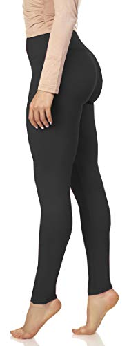 Luxurious Quality High Waisted Leggings for Women | Workout & Yoga Pants Plus (One Size (XS - XL), Black)