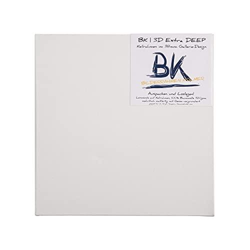 4X BK extra DEEP KEILRAHMEN 30x30cm | Leinwände auf Keilrahmen 30x30 cm | extra hohe Keilrahmen mit Leinwandtuch, quadratische malfertige bespannte Keilrahmen zum Malen