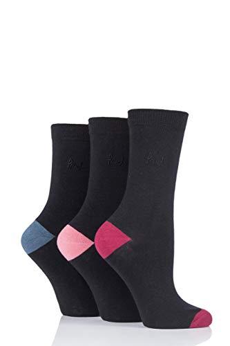 Pringle Damen 3 Paar Terri-Ann mit farblich abgesetzter Ferse & Zehen Socken (Grün/Rosas, 37/41)