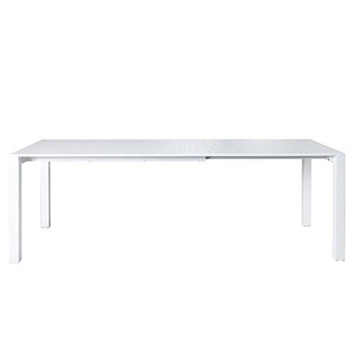 Invicta Interior Ausziehbarer Design Esstisch X7 weiß Hochglanz - Eiche 140-215 cm Tisch ausziehbar Konferenztisch Küchentisch