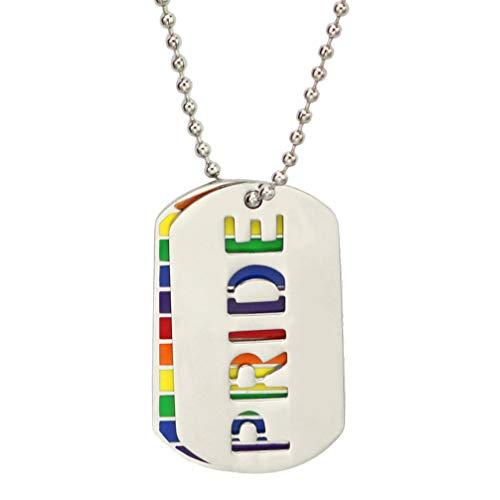 Amosfun LGBT Gay Lesbiana Orgullo Collares Acero Titanio Arco Iris Hoja Colgante Homosexual LGBT relación Arco Iris joyería Regalos para Hombres Mujeres
