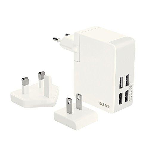 Leitz, Wand-Reise-Netzteil für Mobilgeräte, 4 USB-Ausgänge, Hohe Ladegeschwindigkeit, 24W, Complete, Weiß, 62190001