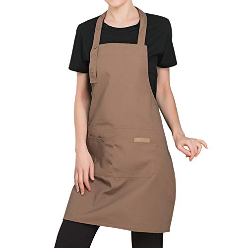 Qianbo Ajustables Delantales Cocinero Delantal de Cocina con Bolsillos para Hombres Mujeres Mandil para Hornear Cocinero Camarero Café
