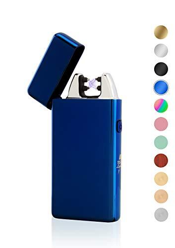 TESLA Lighter TESLA Lighter T05 Lichtbogen Feuerzeug, Plasma Dobule-Arc, elektronisch wiederaufladbar, aufladbar mit Strom per USB, ohne Gas und Benzin, mit Ladekabel, in edler Geschenkverpackung, Blau Blau