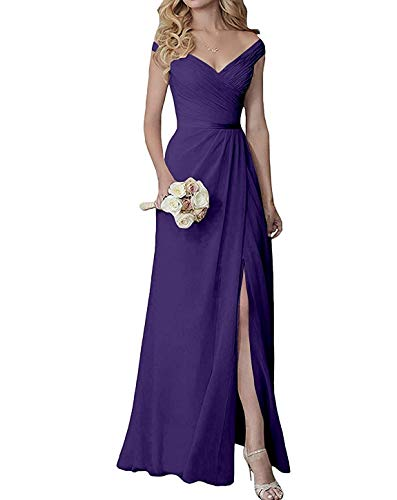 Yilis Elegant V-Neck Chiffon Slit Long Bridesmaid Dress Wedding Evening Dress Lavender US8