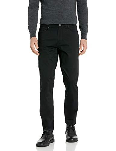Buttoned Down Marca Amazon Pantalón Chino de Sarga elástica con 5 Bolsillos de Corte Recto para Hombre, de fácil Cuidado, Negro, 40 W x 30 L