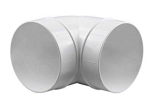 Rundrohrsystem PVC Lüftungsrohr Flexschaluch Bindeglieder Bogen Kniestück Verbinder Rückstauklappe T-Stück Reduktion Halter Adapter (Ø 125, Bogen 90°)