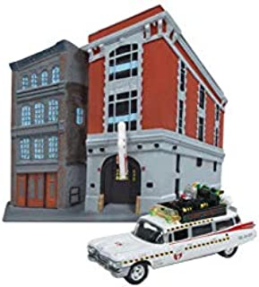 1959 Cadillac Ecto-1A Ambulance Firehouse Exterior Diorama from Ghostbusters II (1989) Movie 1/64 Diecast Model Johnny Lightning JLDR002-GHOSTBUSTERS
