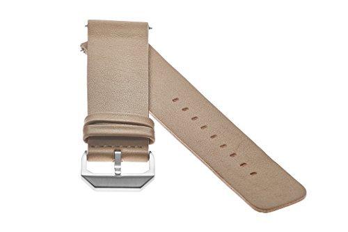 slow - Beiges Lederband mit silbernem Verschluss - 20mm Breite